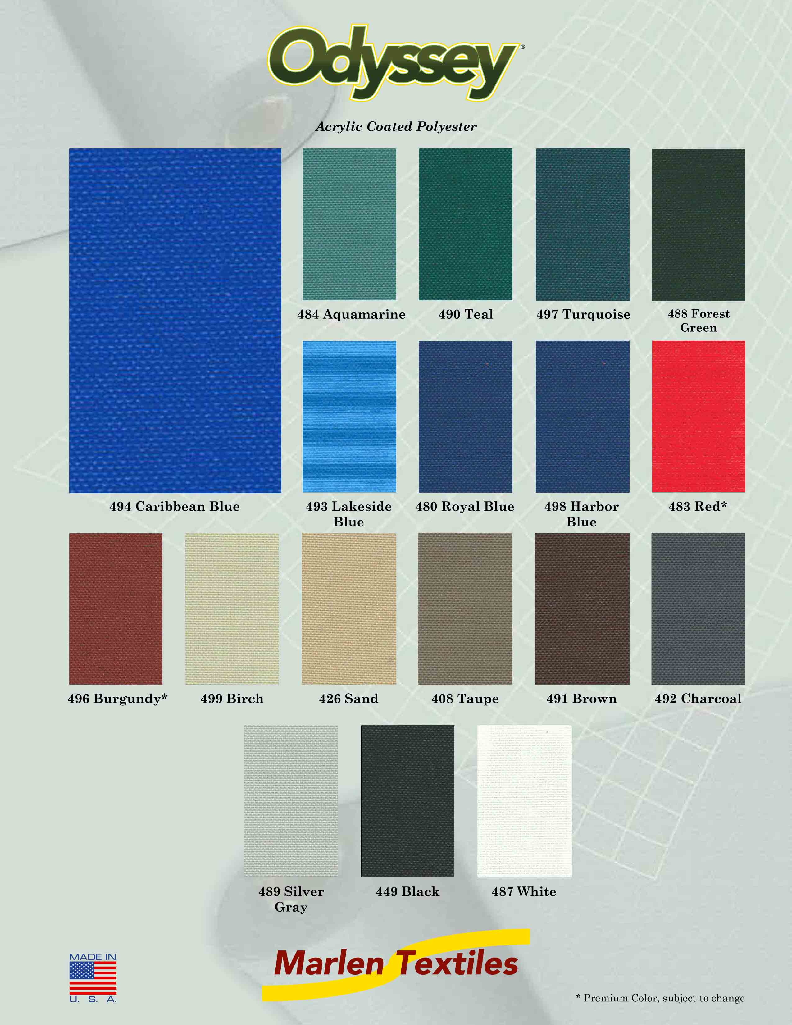 Marlen Textiles | Odyssey Acrylic Coated Polyester Fabric Colors ...