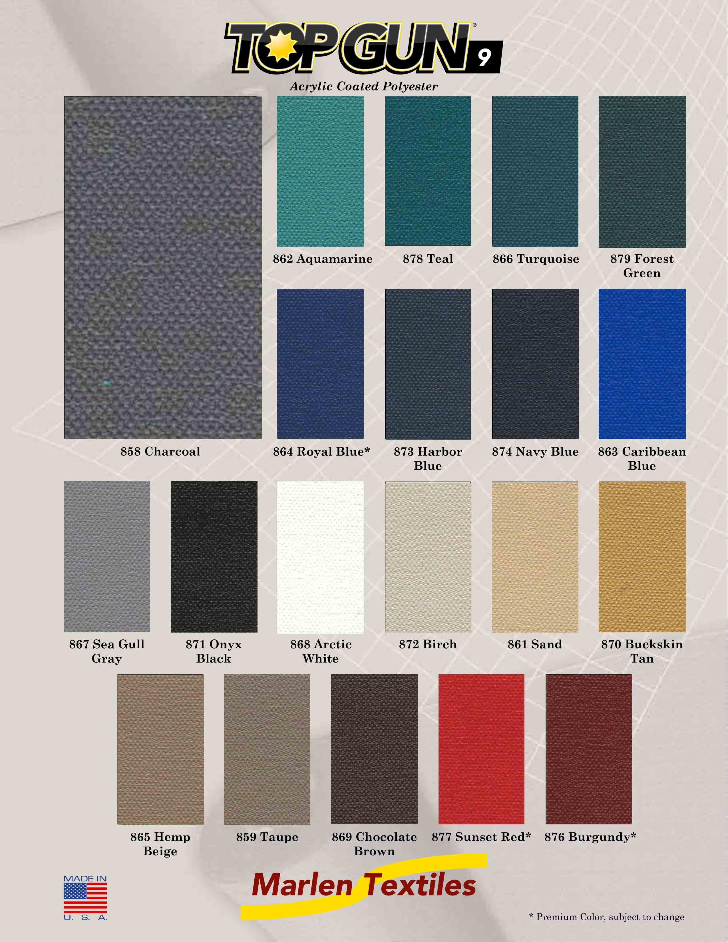 Marlen Textiles Top Gun 9acrylic Coated Polyester Fabric