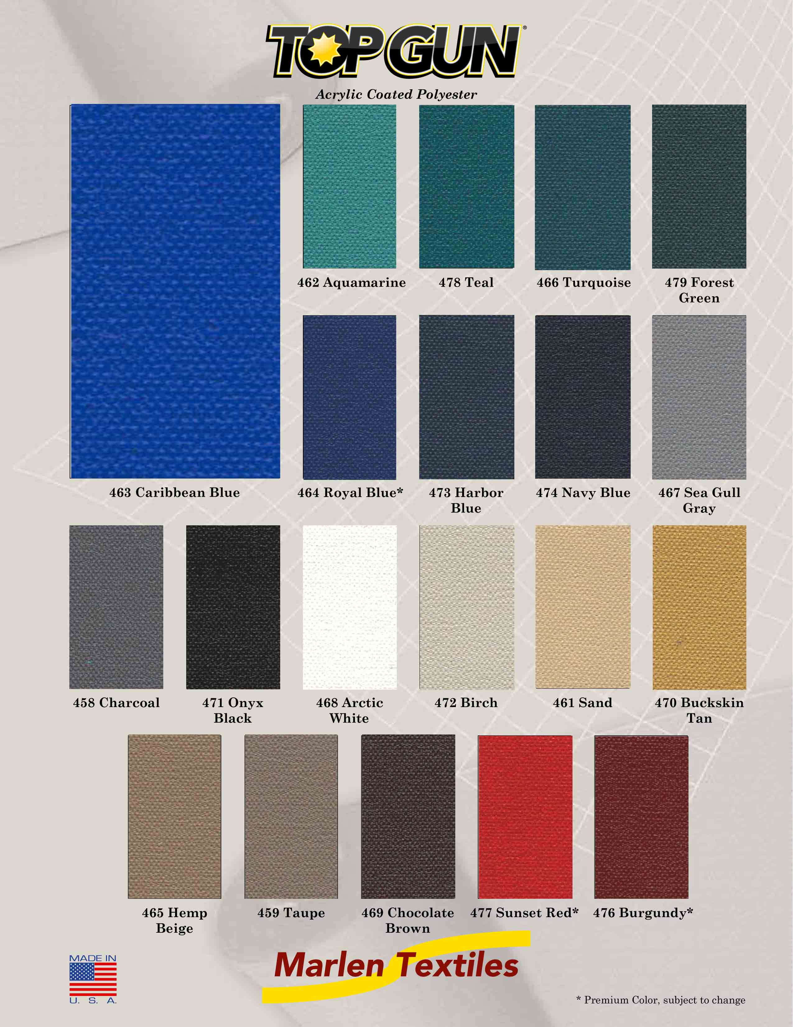 Marlen textiles top gun acrylic coated polyester fabric colors if you dont find a color that matches your needs custom colors are easily made nvjuhfo Images