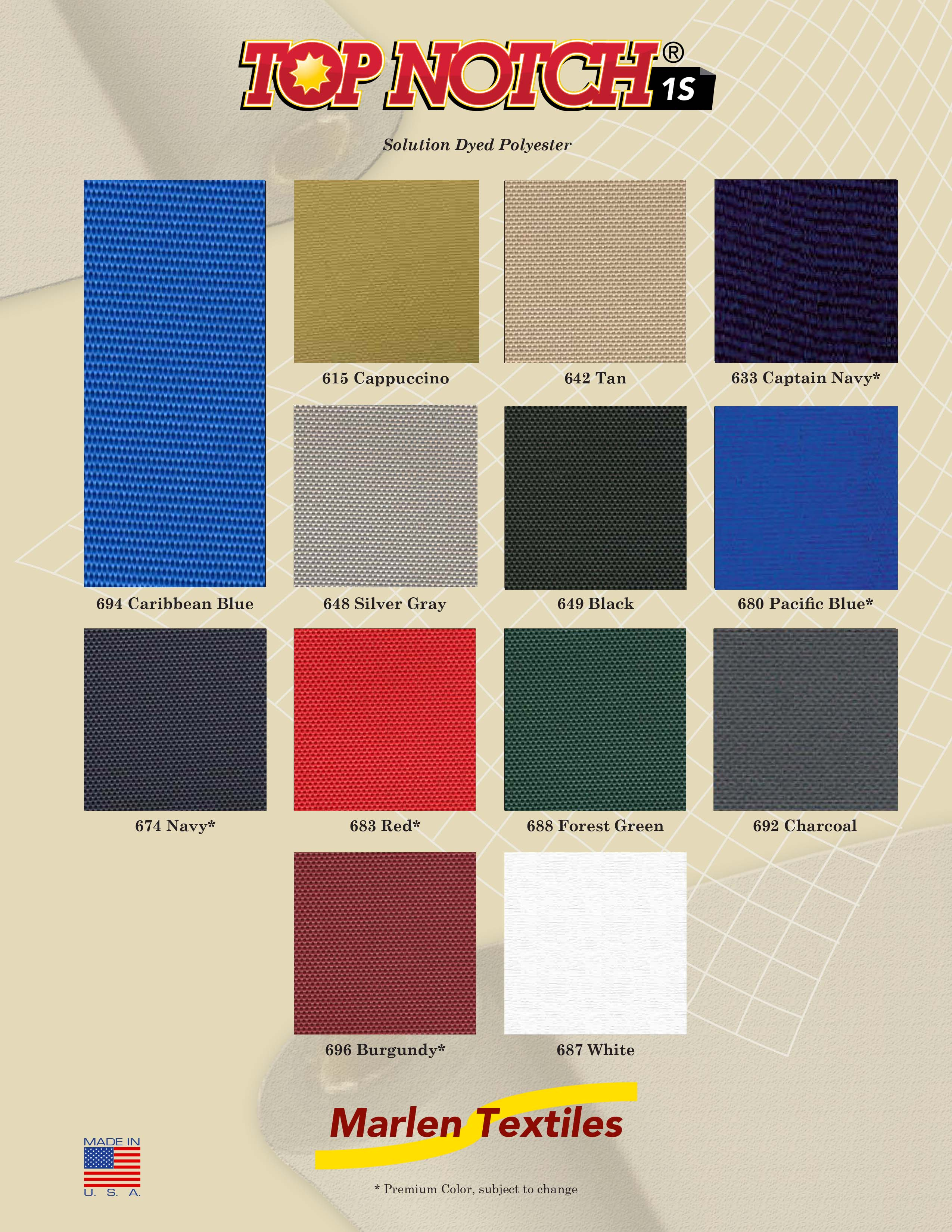 Marlen Textiles Top Notch 1s Solution Dyed Polyester Fabric Colors For Boat Covers Awnings Canopies More