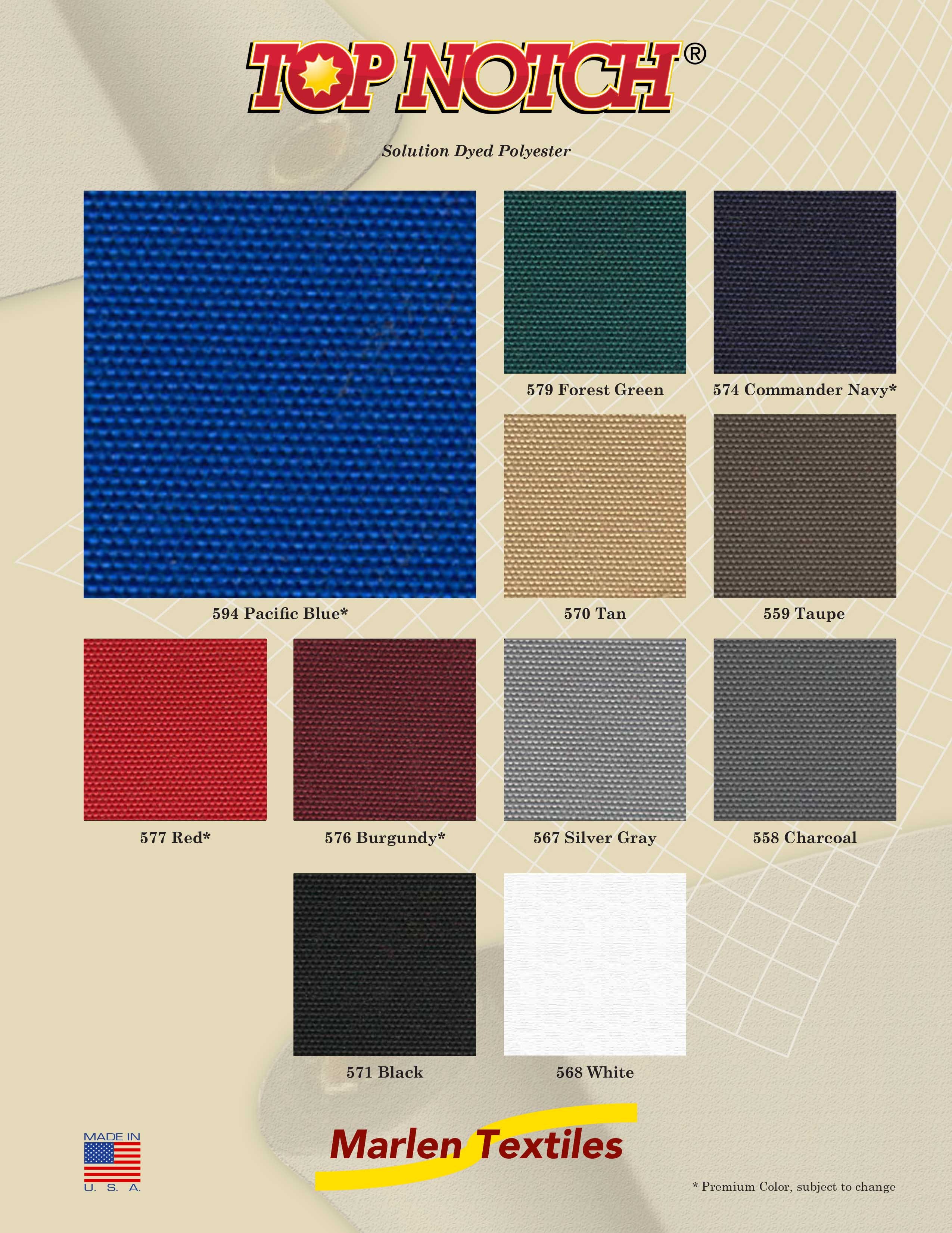 Marlen Textiles Top Notch Solution Dyed Polyester Fabric Colors For Boat Covers Awnings Canopies More