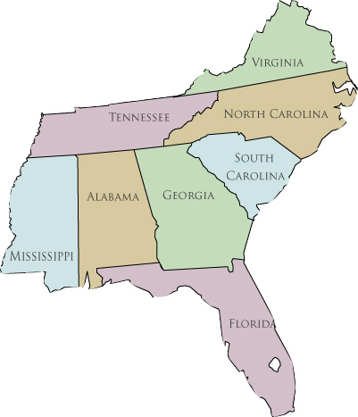 Southeast Us Map Blank - Map of southeastern states